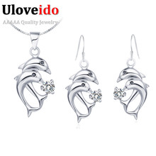 Dolphin Silver Womens Fashion Jewellry Earrings Wedding Rhinestone Crystal Animal Necklace Earring Jewelry Gift Set Ulove T034