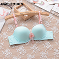 V Underwire bras Push Up Cute student white girl embroidered gather soft underwear comfortable small chest autumn winter models