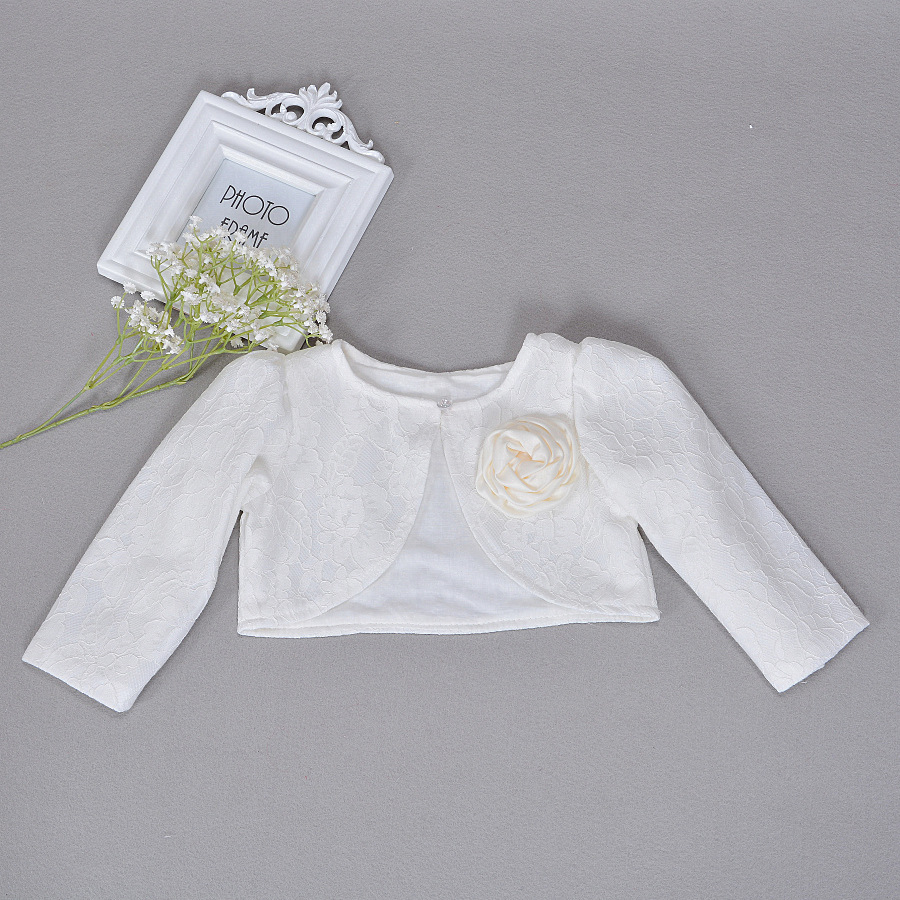 Cardigan Coat Shawl Bolero Lace-Jackets Ivory Girls Baby Infant Newbron Baptism Dress
