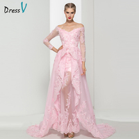 Dressv Pink V Neck Appliques A Line Evening Dress Flowers Pearls Lace Off The Shoulder Long