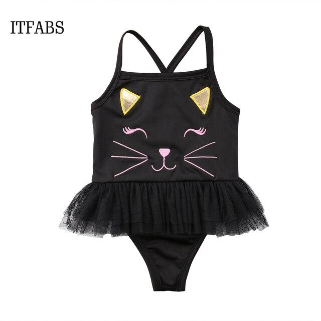 d73a6adfa3968 2018 NEW summer Kids Baby Girls Cartoon cat One-Piece Suits Swimwear  Swimsuit Bathing Suit tulle tutu bikini dresses Beachwear