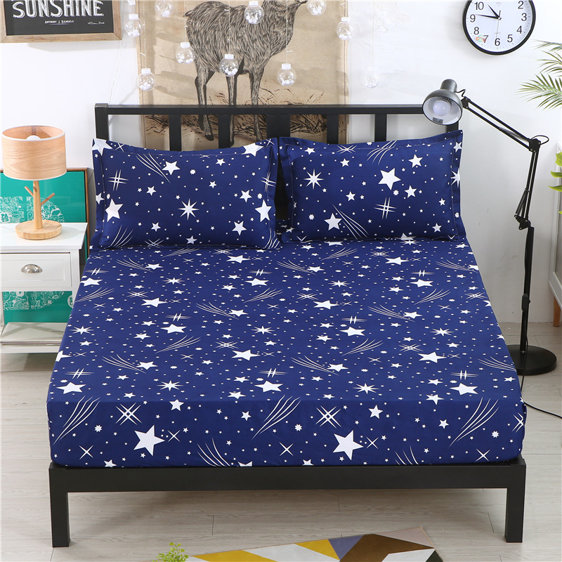1pcs Polyester Adults Bed Sheets Blue Starry Sky Print Bedding Fitted Sheet Mattress Cover Bedsheet With