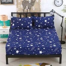 1 шт. полиэстер взрослых простыни синий звездное небо печати постельные принадлежности Простыня матраса простыня с Эластичная лента покрывала