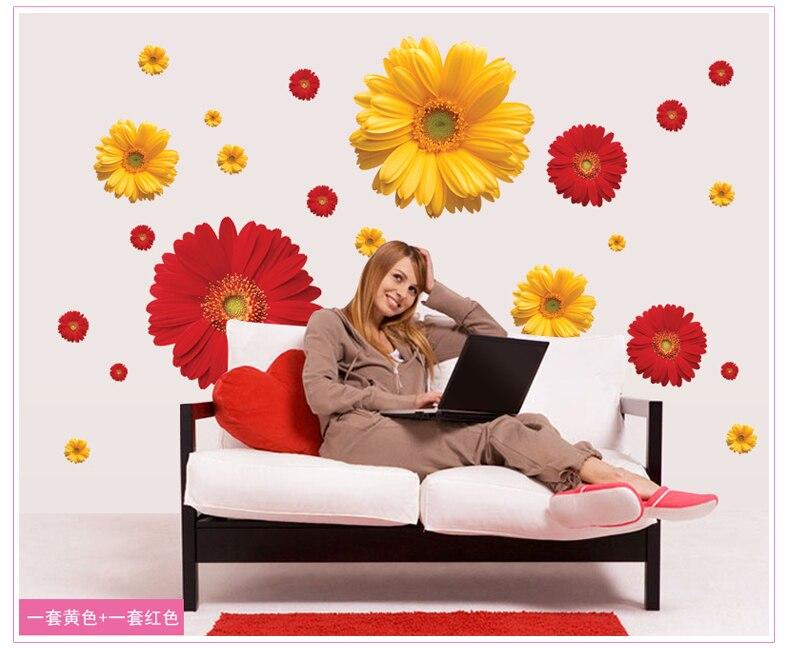 New Decorative DIY Flower Wall Sticker ZY6015 Art Decor Home Bedroom decorations wall decals wallpaper