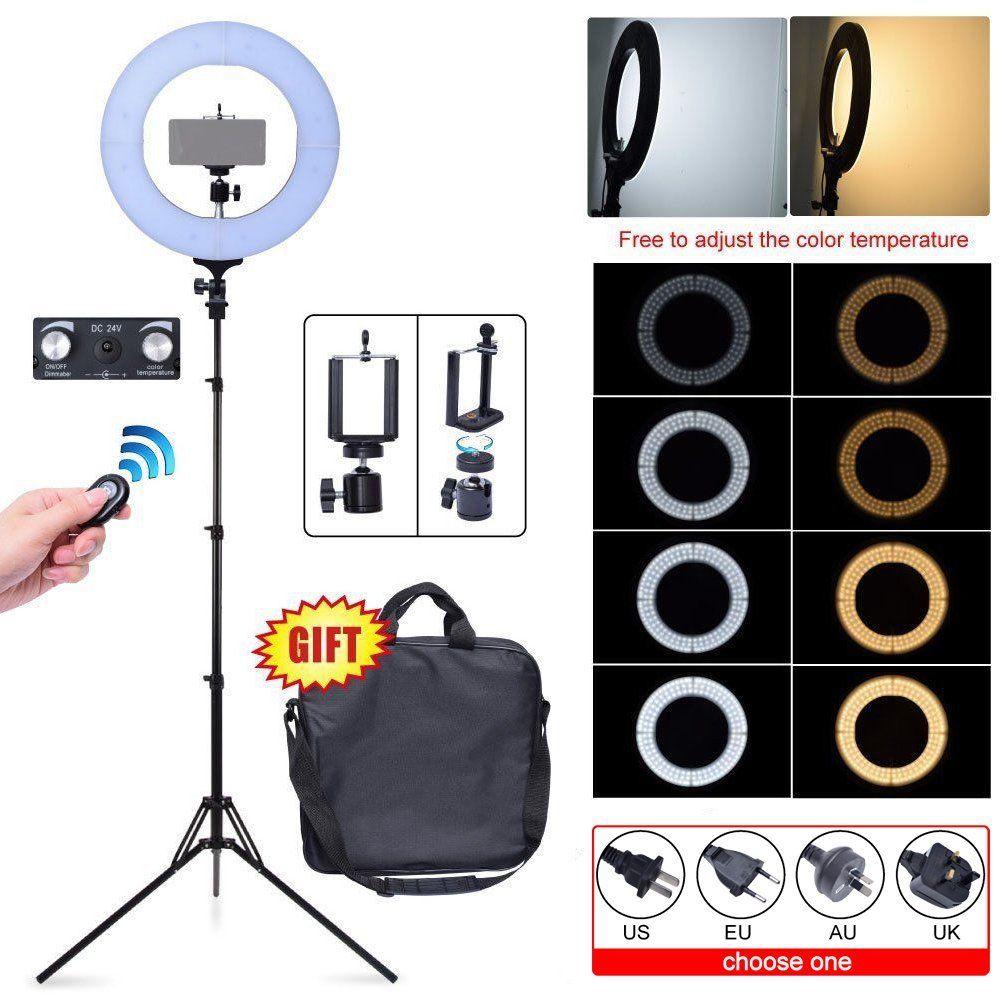"18/"" 5500K LED Regulable Diva Anillo De Luz Con Difusor Kit de Video Foto Ajustable"