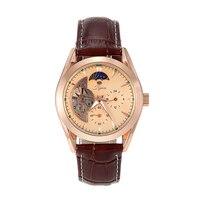 Jijia мужской Tourbillon Авто механические часы Moon Phase световой рабочий суб-циферблат наручные часы G8121 розовое золото