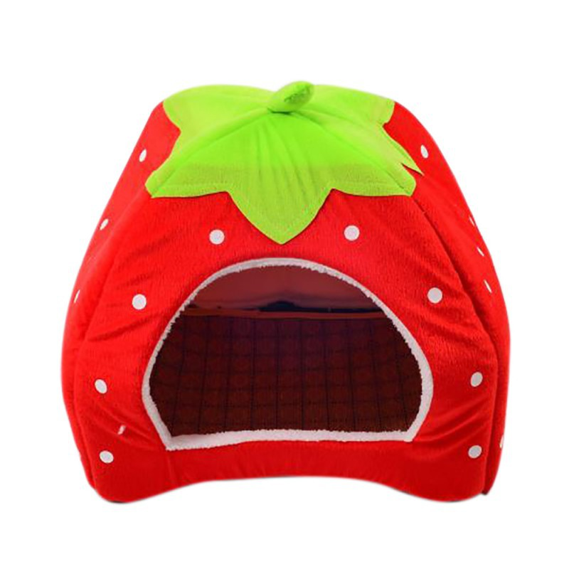 Foldable Cat Dog Kennel Warm Cushion with Cooling Mat Pad Bed Strawberry Shape Sponge Pet House Dog Nest