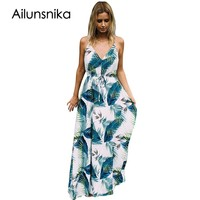Ailunsinika Boho Long Dress Sexy Spaghetti Strap Turquoise Tropical Leaf Print V Neck Maxi Beach Summer