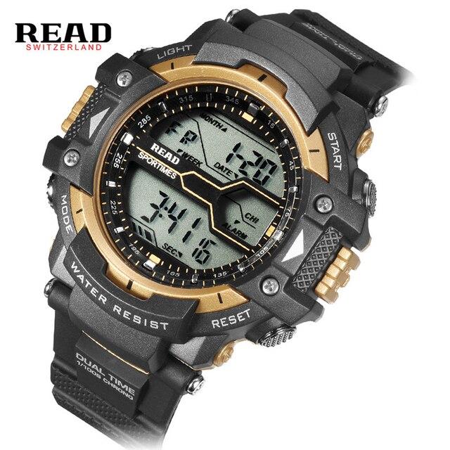 READ new 90010 men sports Stop watch Round Dial Large Digital Scale Analog black Wrist band  Relogio week calendar alarm Clock