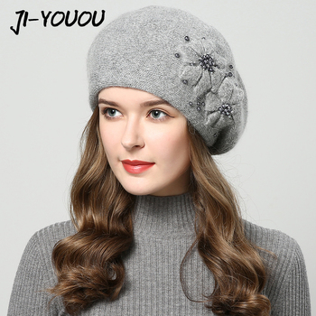 Winter beanie for women with rhinestones rabbit fur beanie best for girls.