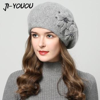 Winter beanie for women with rhinestones rabbit fur beanie best for girls.