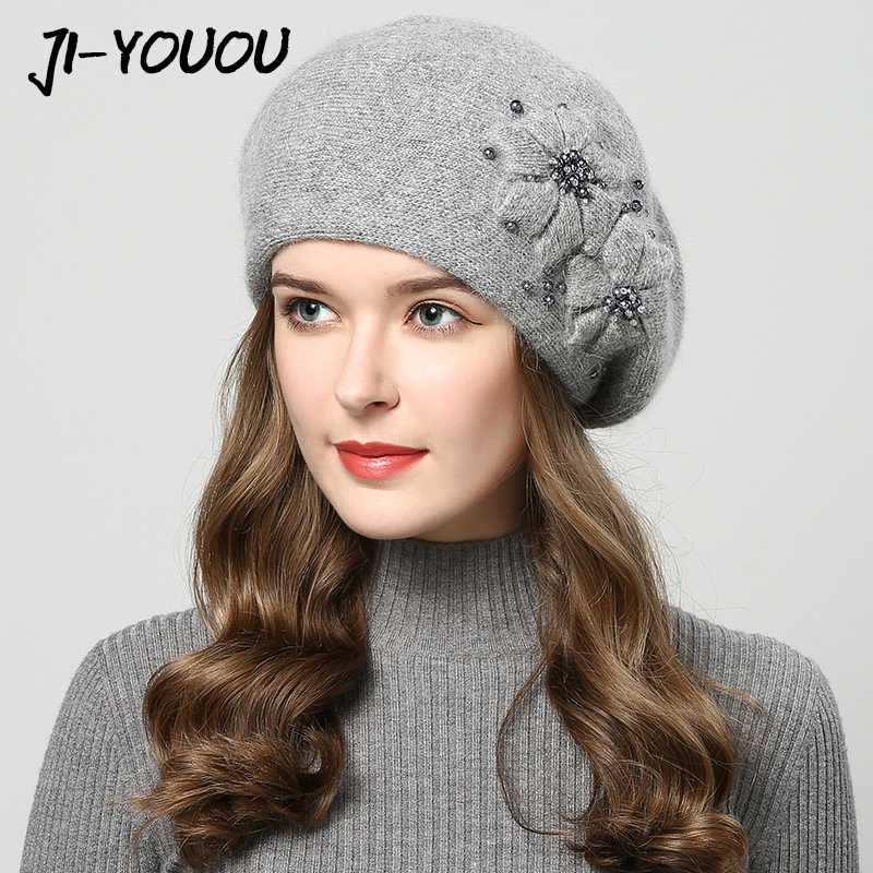 d862dbdafcedb 2018 winter hats for women hat with rhinestones rabbit fur hats for women s  knitted hat beanie
