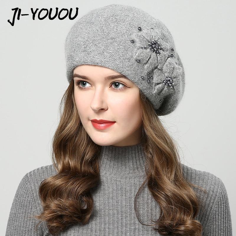 2018 sombreros de invierno para las mujeres sombrero con diamantes de imitación de piel de conejo sombreros para las mujeres de punto sombrero grueso de las mujeres tapa sombrero