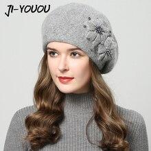 2019 cappelli di inverno per le donne cappello con strass cappelli di pelliccia di coniglio per le donne cappello lavorato a maglia beanie Più Spessa delle Donne cap berretti