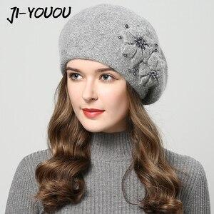 Image 1 - 2019 chapéus de inverno para mulheres chapéu com strass pele de coelho chapéus para gorro de malha feminino mais grosso gorro