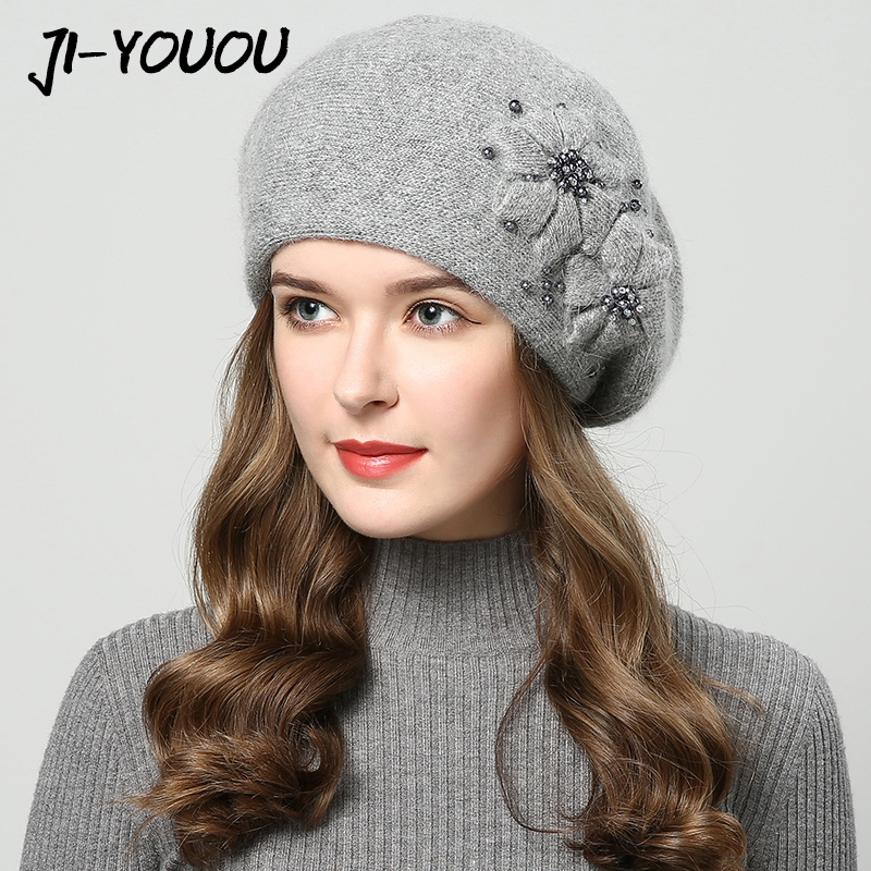 2019 Winter Hats For Women Hat With Rhinestones Rabbit Fur Hats For Women's Knitted Hat Beanie Thicker Women's Cap Beanies
