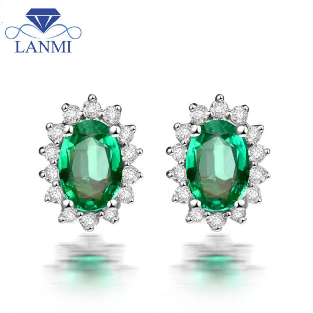 Genuine Emerald Stud Earring Solid 18k White Gold Natural Diamond Earrings For Women We042