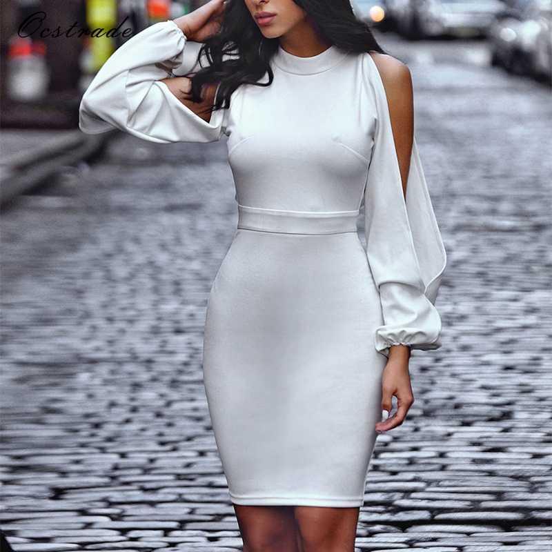 Ocstrade 2017 mode femmes élégant blanc robe moulante pour dames découpé manches Stretch robe en crêpe