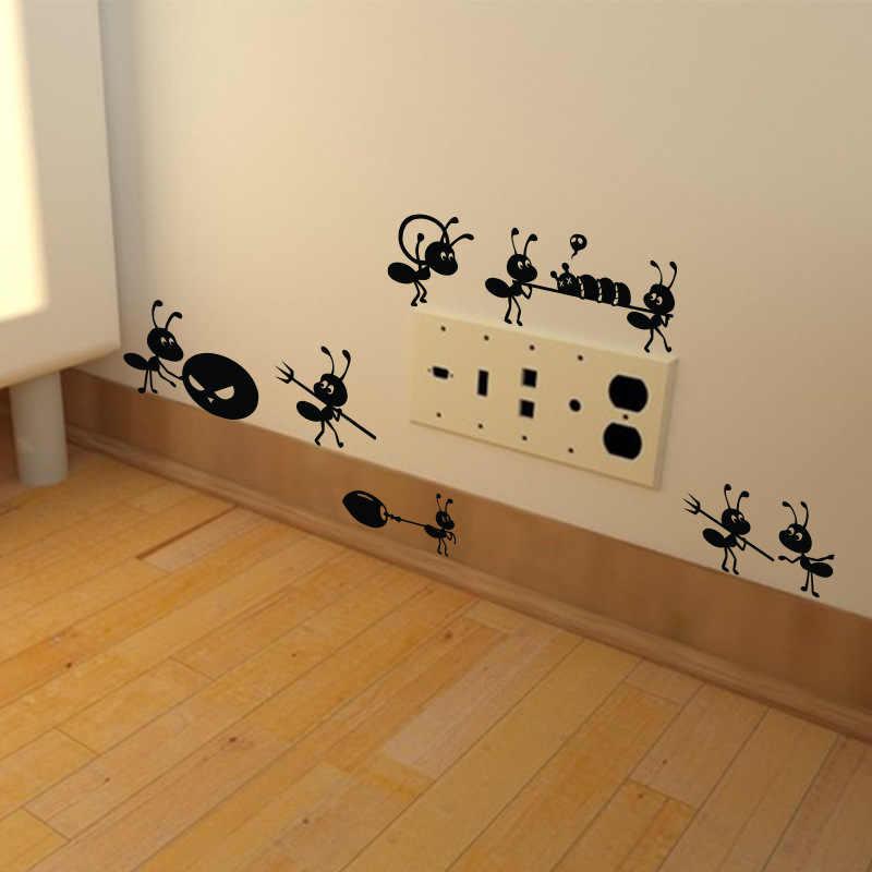 Черный мультфильм муравьи наклейки на стену для детской комнаты гостиная украшение для окон настенные художественные наклейки стеклянные наклейки украшения дома