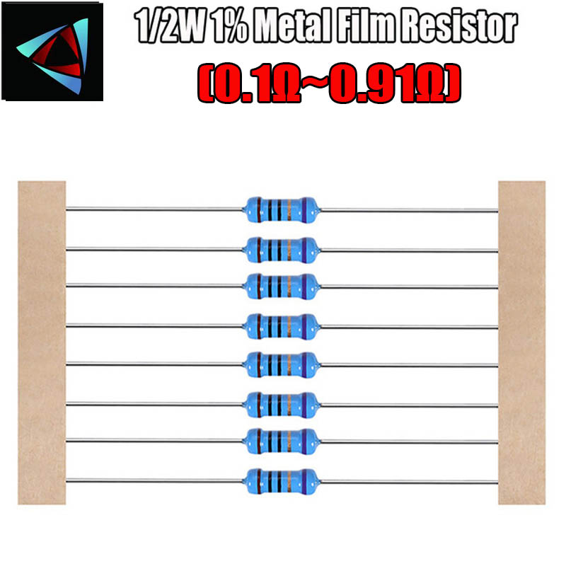 50pcs 1/2w 1% Metal Film Resistor 0.1 0.12 0.15 0.18 0.2 0.22 0.24 0.27 0.3 0.33 0.39 0.47 0.5 0.56 0.62 0.68 0.75 0.82 0.91 Ohm