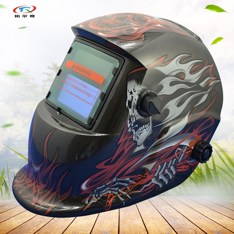 Chameleon Welder Mask Helmet Mig Tig PP Skull Auto Darkening Welding Mask Helmet Face Solder Cap Electronic Custom HD09(2233FF)