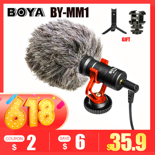 BOYA BY-MM1 Microphone On-Camera Video Recording Mic Microfone for Xiaomi DJI Osmo Pocket DSLR Camera Sony iPhone PK Rode