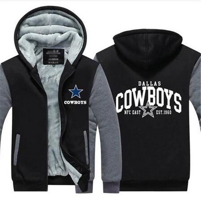 Dropshipping Mens Thicken Hoodie Dallas Cowboys Fan Warm Sweatshirt Coat  Zipper Jacket Us Size 2ceb98f0d