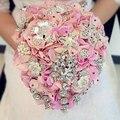Потрясающие каскадных брошь букет Брошь Свадебный Букет Невесты Розовый Серебряный Каскад Кристалл Алмаза Винтажном Стиле FW106