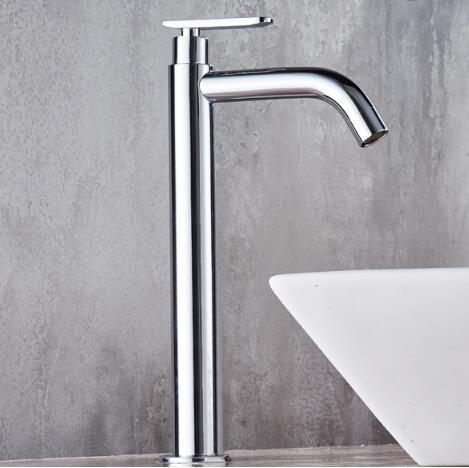 Tuqiu洗面器の蛇口単一のコールド浴室の蛇口洗面器ミキサー浴室のシンクの蛇口トールクローム真鍮の蛇口冷水