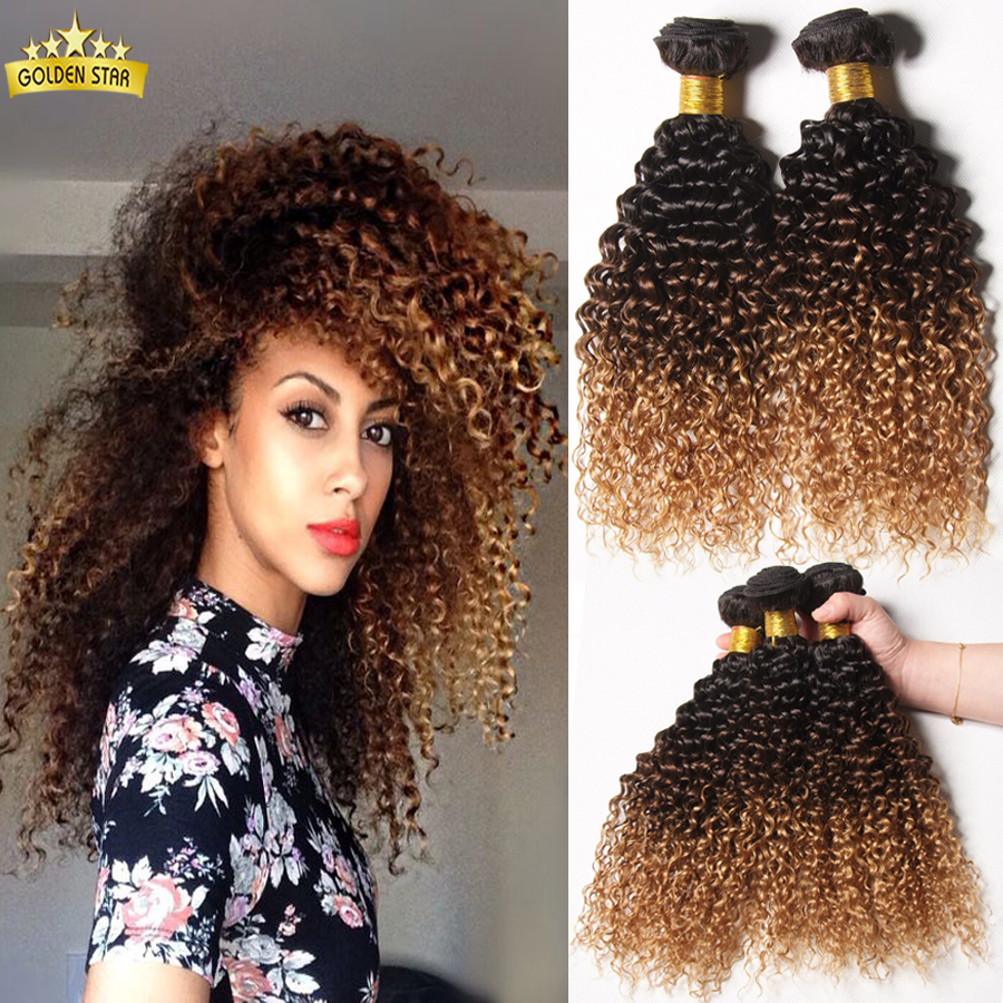 Mongolian Kinky Curly Hair Ombre Kinky Curly Hair Weave Curly Blonde