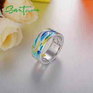 Image 5 - SANTUZZA Silber Ring Für Frauen 925 Sterling Silber Gesicht Ringe für Frauen Shiny Weiß CZ Bunte Emaille Partei Mode Schmuck