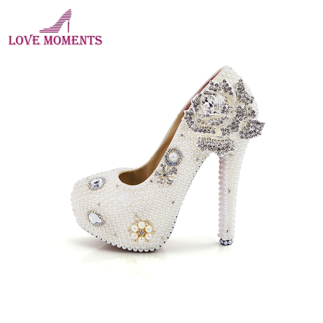 White Pearl Wedding Shoes Silver Flower High Heel