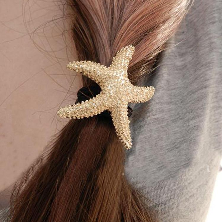New Arrival Fashion Lovely Hair Accessories Metallic Starfish Shaped Elastic Women Hairbands Color Gold