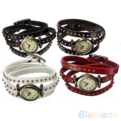 Popular Vintage Genuine Cow leather Quartz Bracelet font b women s b font wristwatches women dress