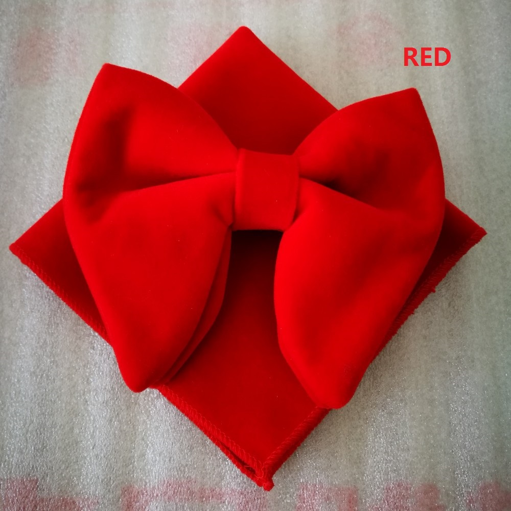 Ikepeibao Wedding Party Classic Red Men's Velvet Adjustable Bowtie Sets With Handkerchief Neckwear Bow Ties Accessaries