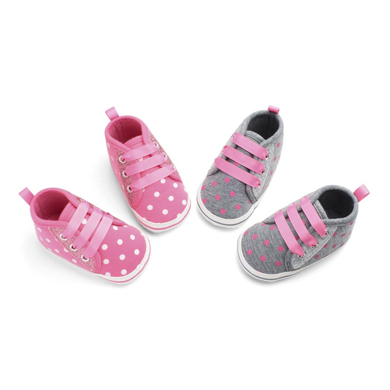 Baby Boys Girls Shoes First Walker Sequined Ribbon Cotton Fabric Shoes Elastic Band Big Polka Dot Printing Walking Shoes