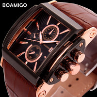 BOAMIGO Fashion Men Sports Quartz Watches Leather Strap Casual Brand Analog Business Gold Wristwatches Clock Relogio