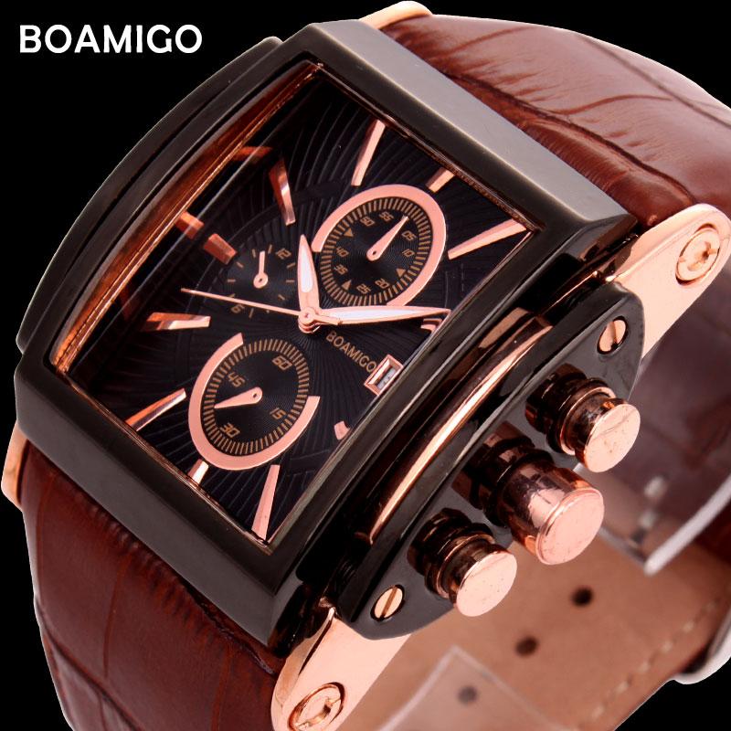 BOAMIGO Men Quartz Watches Brow Leather Strap Auto Date Clock Male Fashion Casual Analog Big Man Wristwatches Relogio Masculino