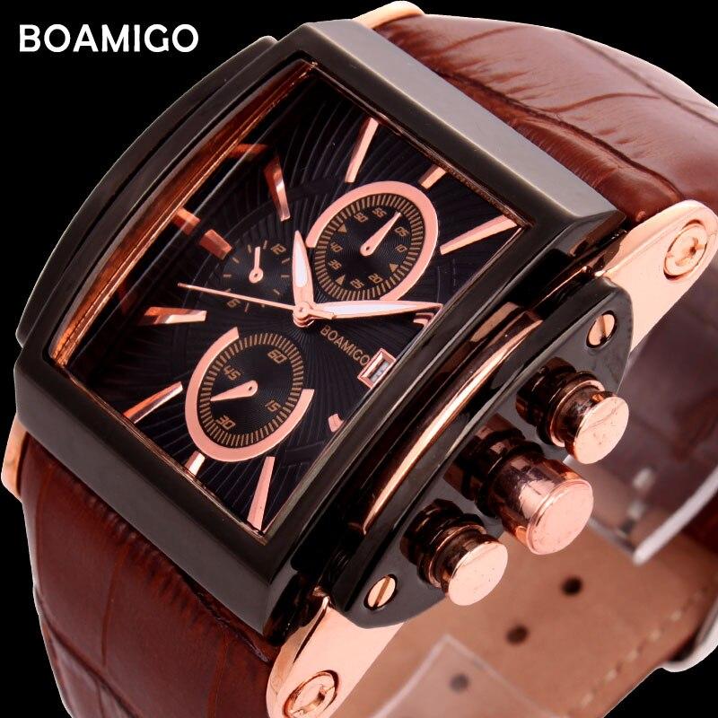 34920c50bf0 Homens pulseira de couro relógios de quartzo brow BOAMIGO data automática relógio  masculino moda casual analógico