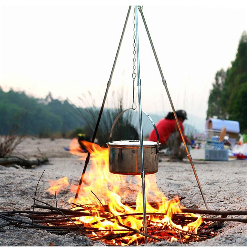 Aluminum Alloy Tripod Outdoor Portable Folding Picnic Cooking Dutch Oven Tripod Hanging Pot Campfire Grill Stand