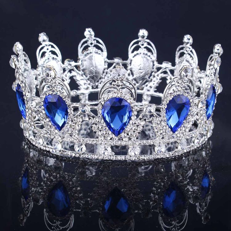 Luxury baroque tiaras crowns for women vintage gold silver red blue crystal rhinestones TS003 ladies bridal hair accessories