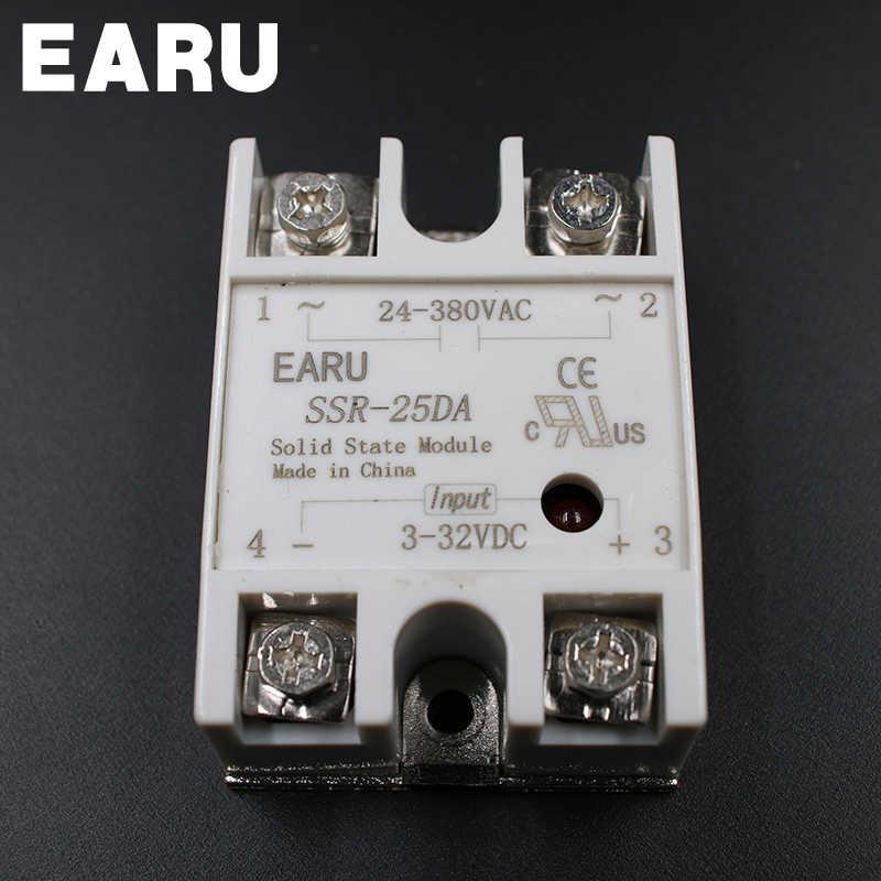 Módulo de relé de estado sólido SSR-10DA SSR-25DA SSR-40DA 10A 25A 40A DC 3-32V a 24-380V AC SSR 10DA 25DA 40DA controlador de temperatura