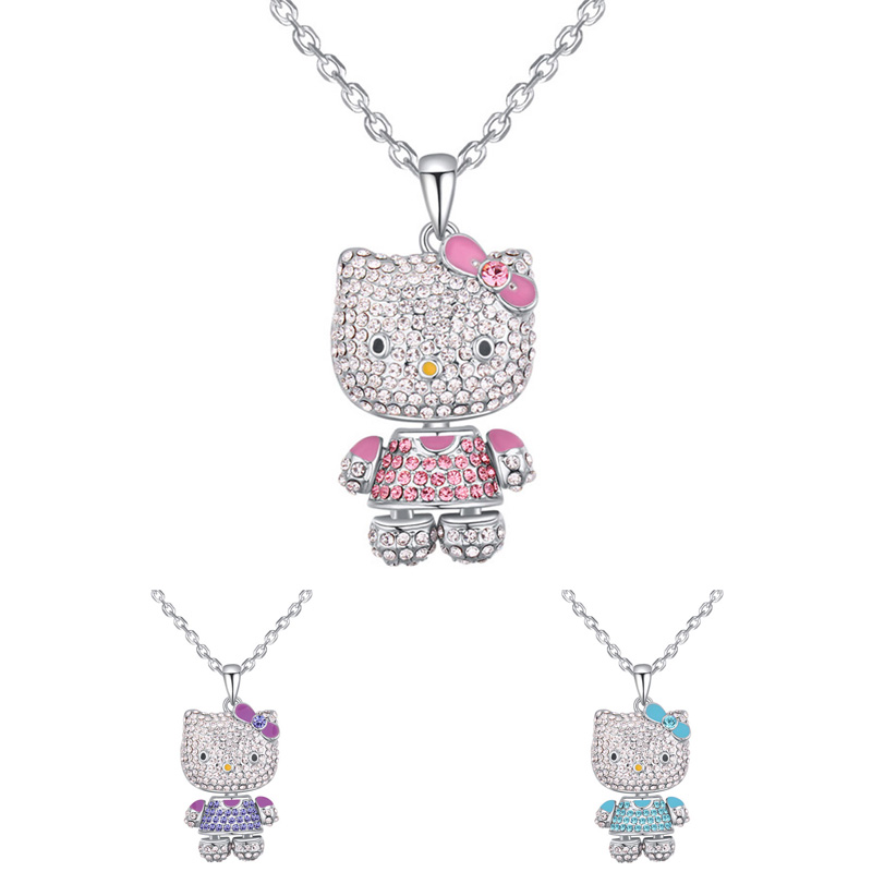 Cat Necklace Made With Czech Preciosa Crystal Animal Charms Pendant Kids Gifts Birthday Party Jewelry Necklace For Girls 3 Color