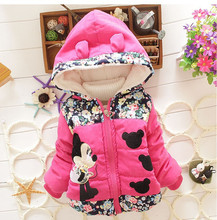 CHCDMP Girls Minnie Jacket Winter Cartoon Lovely Keeping Warm Boys Mickey Coat Children Cotton Casual Hooded Thick Outerwear