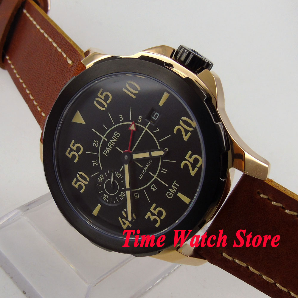 44mm Parnis sapphire glass ST2557 GMT mens watch 775 black dial gold case 5ATM water resistance g962 18 g962 1 8v gmt to252