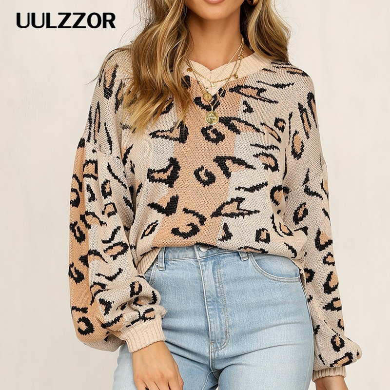 UULZZOR Winter Women Leopard sweaters Long Sleeve V Neck pullover women Loose Casual Ladies Winter Tops female swaters
