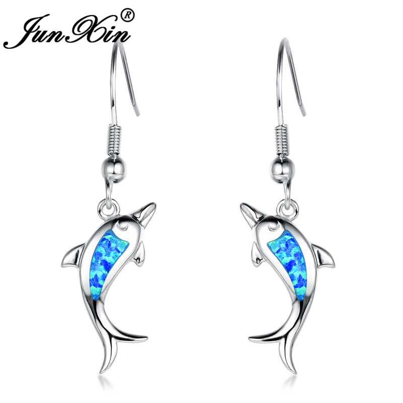 JUNXIN Christmas Silver Color Dolphin Drop Earrings For Women Double Fish Ocean Blue Fire Opal Earrings Female