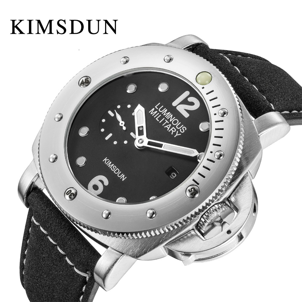 Hot KIMSDUN Luxury Fashion Military Brand Hot Men's Quartz Watch Leather Strap Casual Sports Watch Relogio Montre Femme Wrist