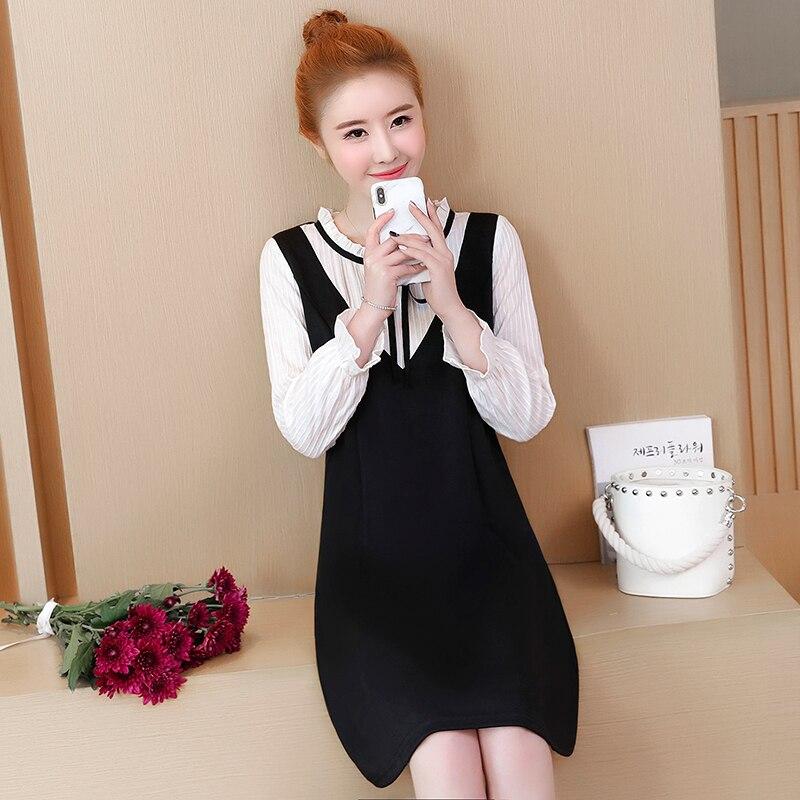Abbigliamento Abito Primavera Donne E Manica Allentato Due Plus Size Coreana  Dalle Lunga Nero Nuova Falsi ... f39963fcf15