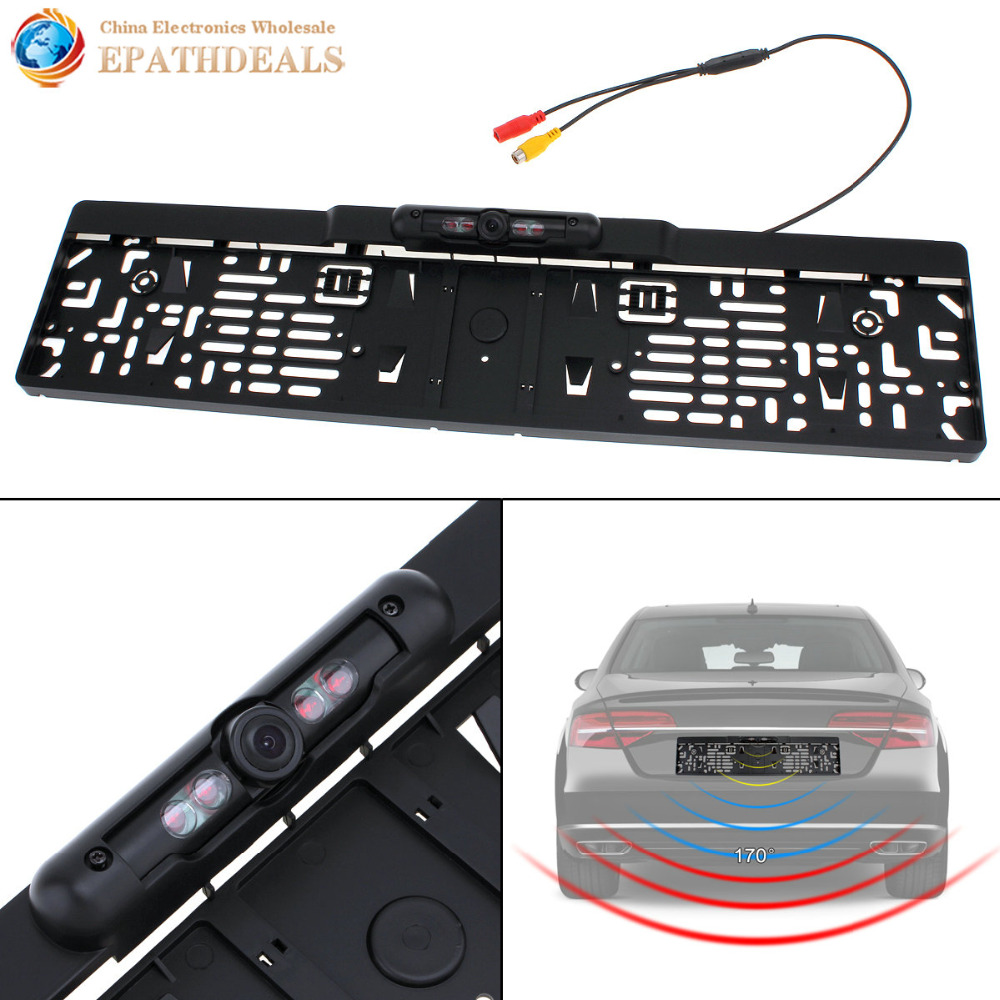 Auto Parktronic EU Car License Plate Frame Rear View Camera HD Night Vision Reverse Backup Rearview Camera with 4 IR Light